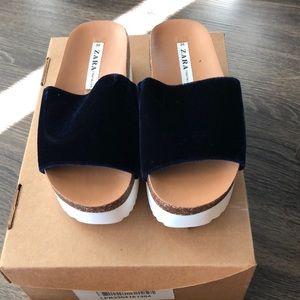 Zara Trafaluc Blue Velvet Slip on Shoes